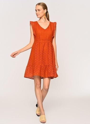 Loves You Kolları Fırfırlı Güpür Elbise Oranj